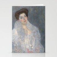 gustav klimt Stationery Cards featuring Portrait of Hermine Gallia by Gustav Klimt by Palazzo Art Gallery