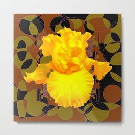 Decorative Modern Golden Iris Brown-Black Pattern Floral Metal Print