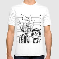 Rick and Morty White LARGE Mens Fitted Tee