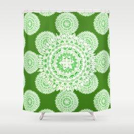 Bright Green Metallic White Mandala Textile Shower Curtain