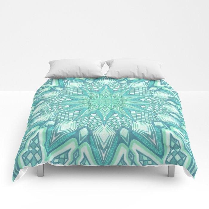 Burst Mandala Turquoise Comforters
