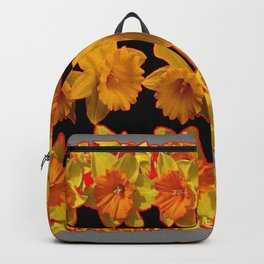 GOLDEN DAFFODILS GARDEN IN GREY-BLACK ART DESIGN Backpack