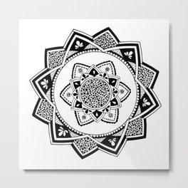 Sirasana black mandala on white Metal Print