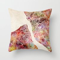 liverpool Throw Pillows featuring Liverpool by MapMapMaps.Watercolors