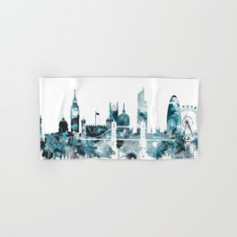 London Monochrome Blue Skyline Hand & Bath Towel