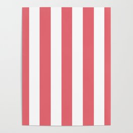 Light carmine pink - solid color - white vertical lines pattern Poster