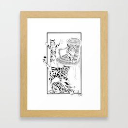 Cats with a chair - Ink artwork Framed Art Print