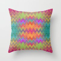 hippy Throw Pillows featuring Hippy 2 by HK Chik