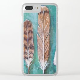 Red-tailed hawk feathers green turquois background Clear iPhone Case