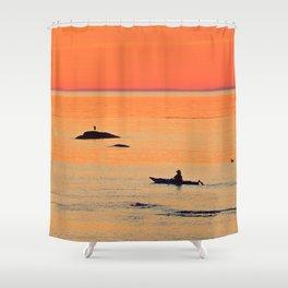 Kayak and Birds under Orange Skies Shower Curtain