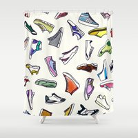 sneakers Shower Curtains featuring sneakers addiction by Federico Faggion