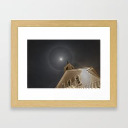 Baptist church moon halo Framed Art Print