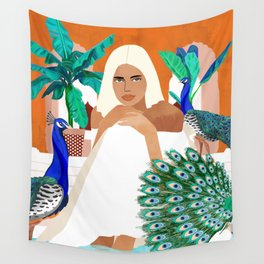 Indian Vacay #illustration #painting Wall Tapestry