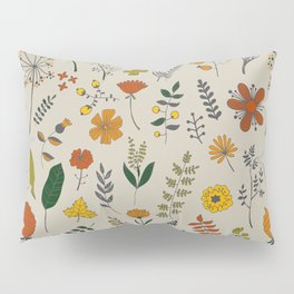 Colorful Plants and Herbs Pattern Pillow Sham
