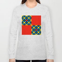 Colored Circles Red Squares Long Sleeve T-shirt