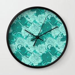Seafoam Needles and Roses Wall Clock