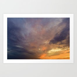 Bright lit colors of the sky at sunset Art Print