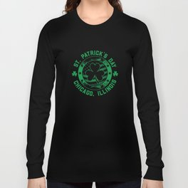 Chicago Flag Irish St Patricks Day Apparel Chi Town Long Sleeve T-shirt