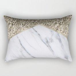 Shimmering golden chevron marble Rectangular Pillow