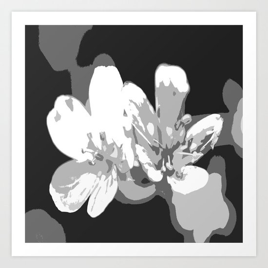 Retro Flowers in Black and White Art Print