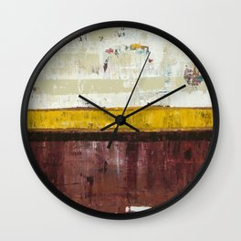 Timber Maroon Gold Abstract Art Painting Wall Clock