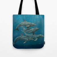 dolphins Tote Bags featuring Dolphins by Beckyliv