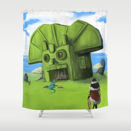 The Wastelands Godhead rest stop Shower Curtain