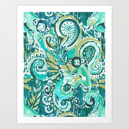 MONKEY TRICKSTER - JADE Art Print
