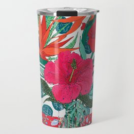Tropical Bouquet in Living Coral and Emerald Green Travel Mug