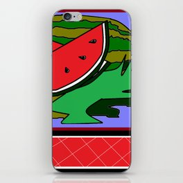 Watermelon with flower and red tile iPhone Skin