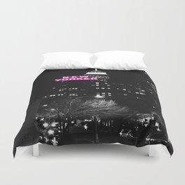 new york city Black & White + Pink Duvet Cover