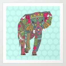 painted elephant aqua spot Art Print