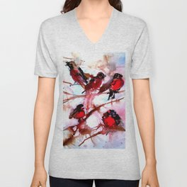 Robins in the Snow Unisex V-Neck