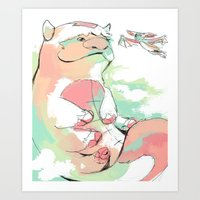 appa Art Prints featuring Appa and Momo by lavaniteuse