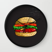 burger Wall Clocks featuring Burger by YusufSangdes
