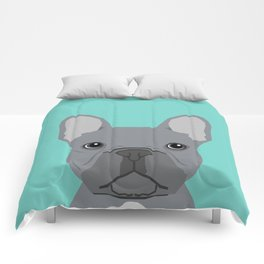 French Bulldog cute grey puppy funny bulldog pet gift for dog person loved one valentines day dogs Comforters