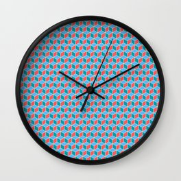 Red Blue Cube Pattern Wall Clock