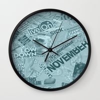 college Wall Clocks featuring college  by MadCat