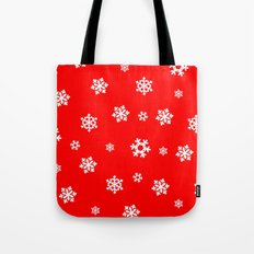 Snowflakes (White on Red) Tote Bag