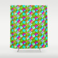 70s Shower Curtains featuring 70s retro circles,green by MehrFarbeimLeben