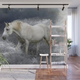 """""""AT ONE WITH THE SEA""""  White Horse In the Surf Wall Mural"""
