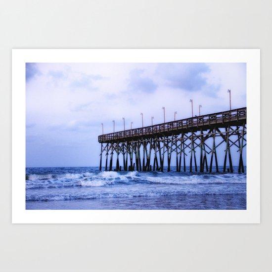 Waves against the Pier Art Print