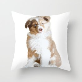Australian Sheperd Puppy Throw Pillow