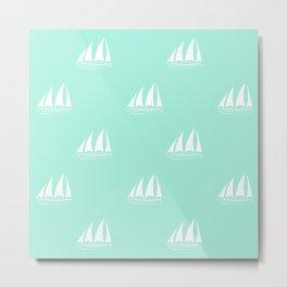 White Sailboat Pattern on seafoam blue background Metal Print