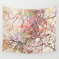 austin Wall Tapestries featuring Austin by MapMapMaps.Watercolors