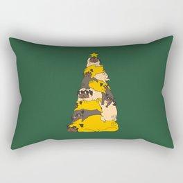 Christmas Tree Pugs Rectangular Pillow