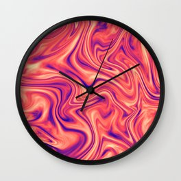 Abstract Colorful Marble Pattern Bright Living Coral, Neon Ultra Violet Wall Clock