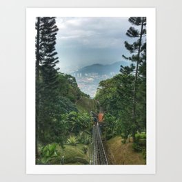 Downhill shot from a lifting up Train. Art Print