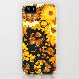 MONARCH BUTTERFLIES & GOLDEN WATCH GEARS ABSTRACT  iPhone Case