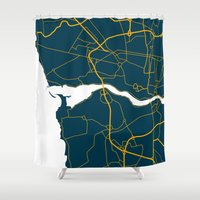 portugal Shower Curtains featuring Porto Portugal Map by Studio Tesouro